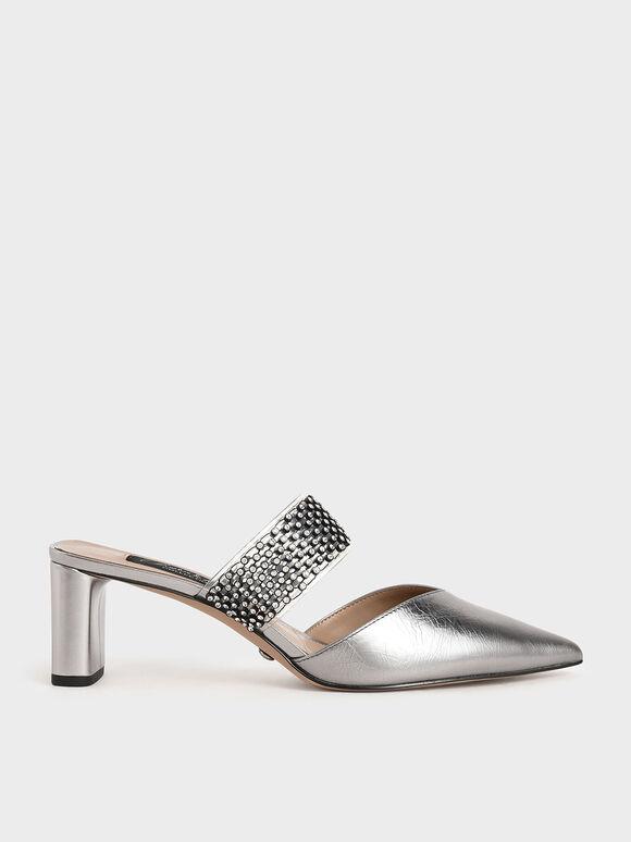 真皮寶石果凍帶跟鞋, 金灰色, hi-res