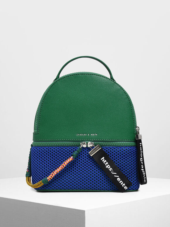 Two-Way Zip Mesh Detail Backpack, Green, hi-res