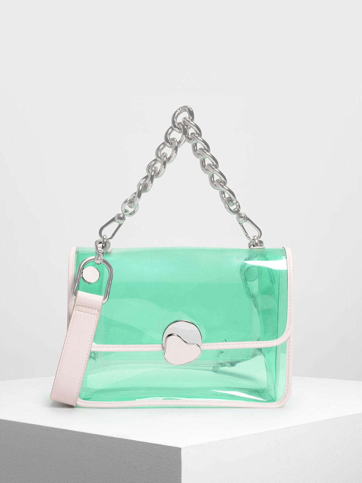 Chain Handle Transparent Bag, Light Pink, hi-res