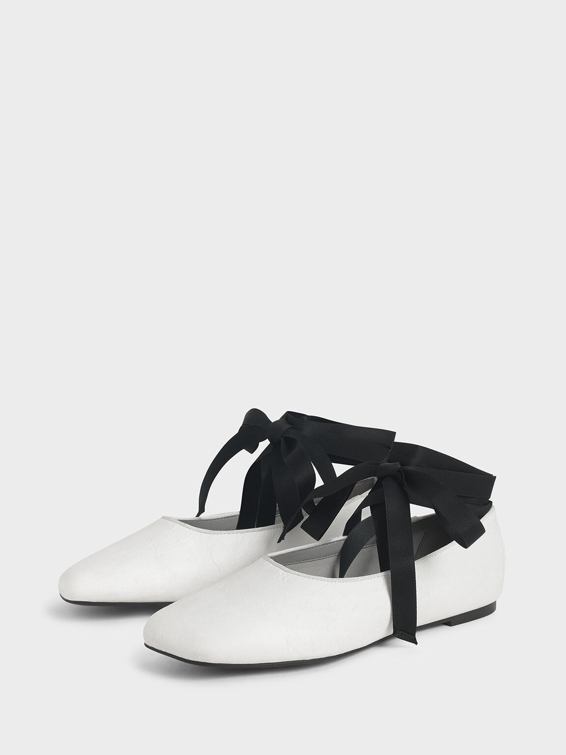 Ankle Tie Ballerina Flats, White, hi-res