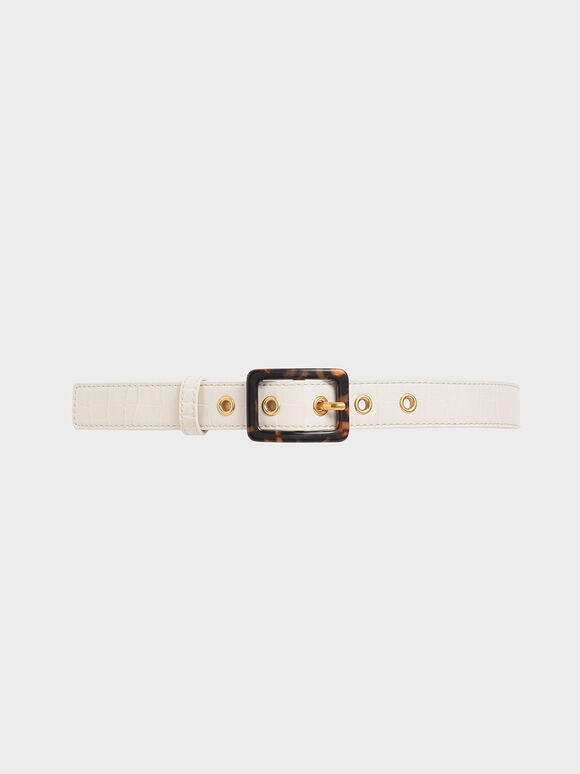 Croc-Effect Mid Waist Belt, Cream, hi-res