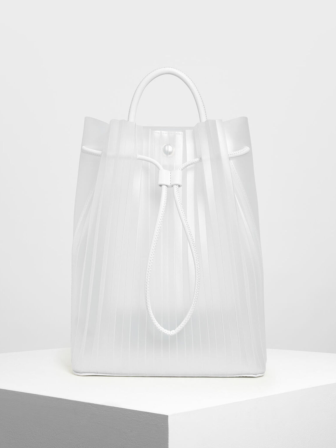 Translucent Drawstring Backpack, White, hi-res