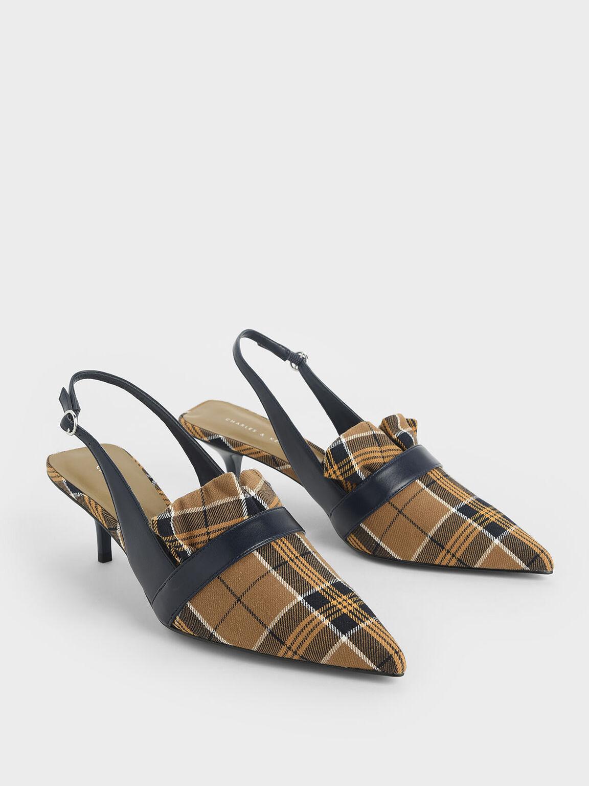 荷葉邊低跟鞋, 芥末, hi-res