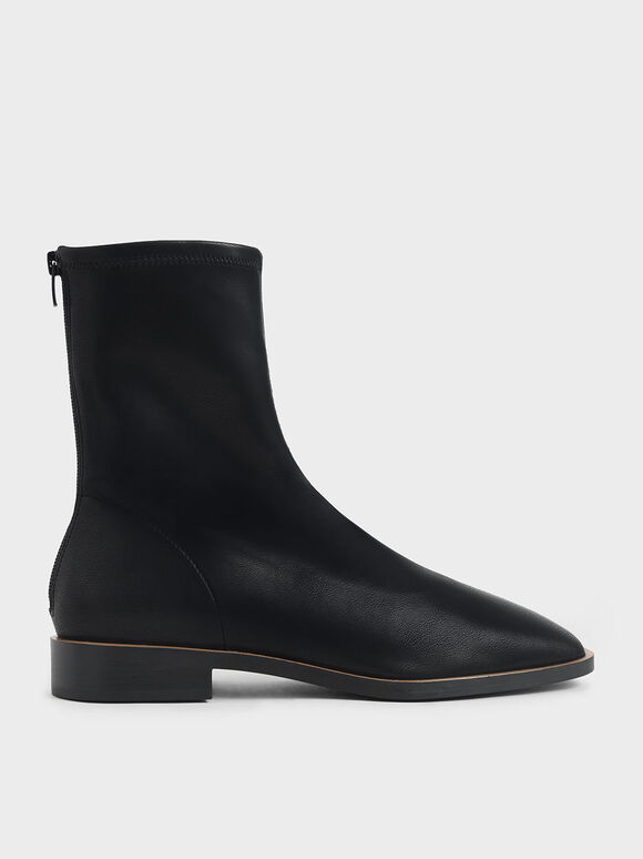 Zip Ankle Boots, Black, hi-res