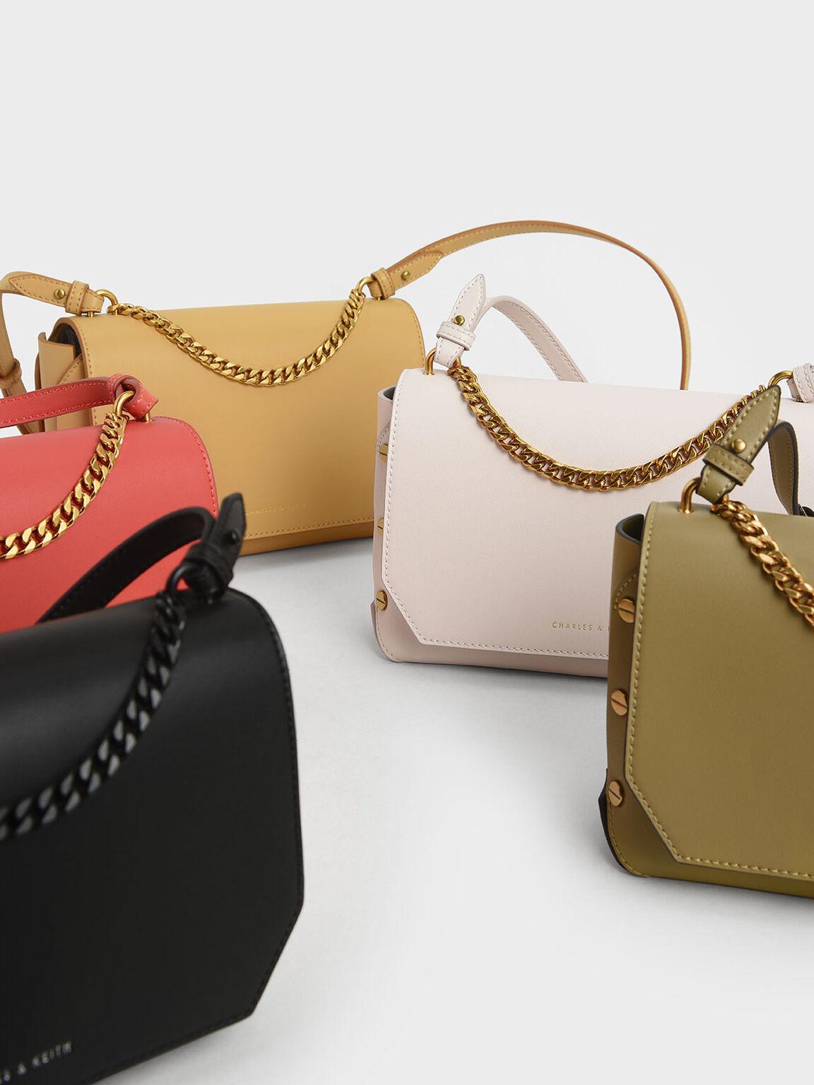 Chain Handle Shoulder Bag, Pink, hi-res