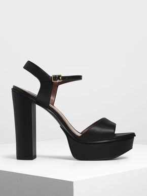 Block Heel Platform Shoes, Black