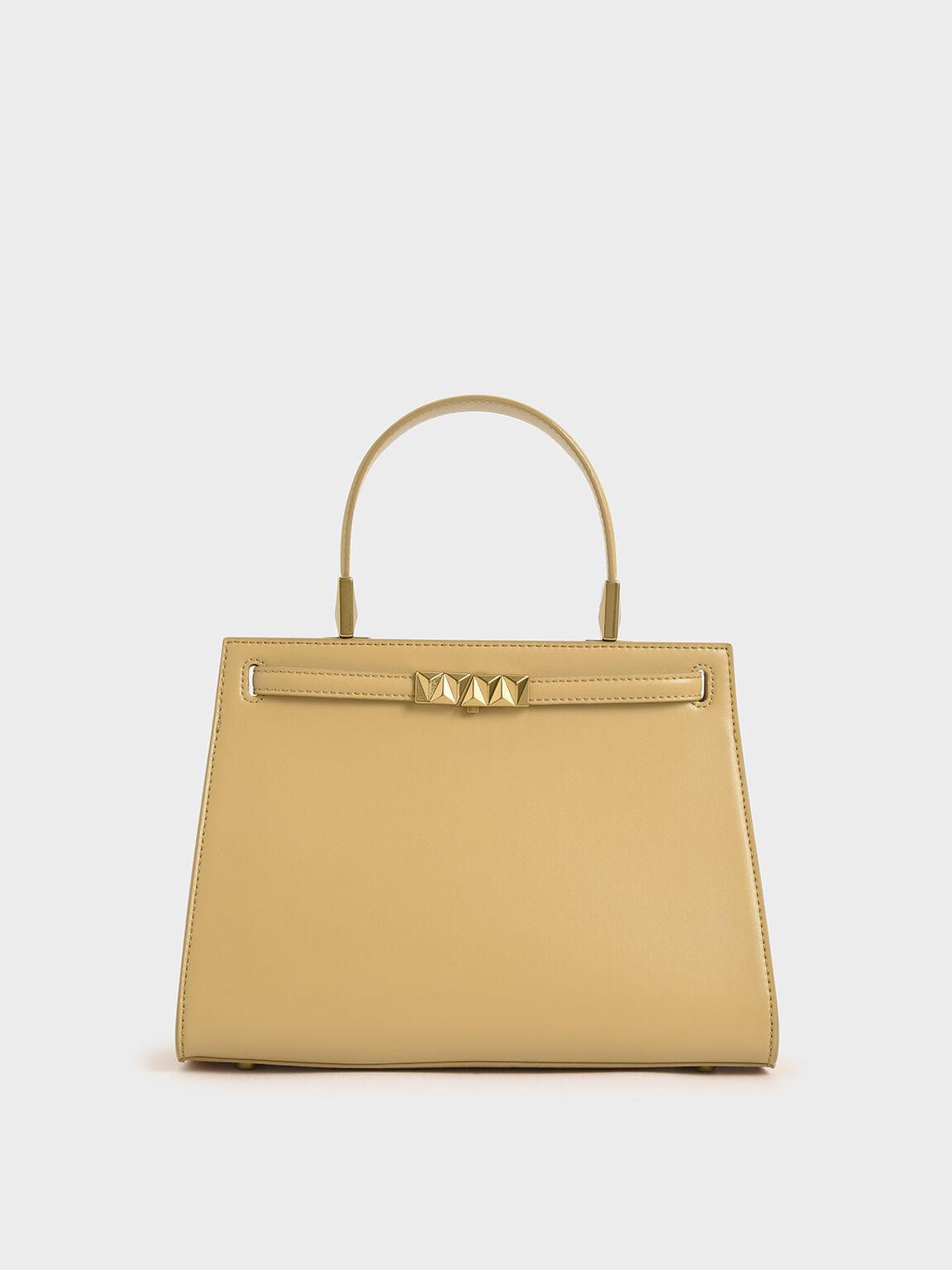 三角立體釦手提包, 黃色, hi-res