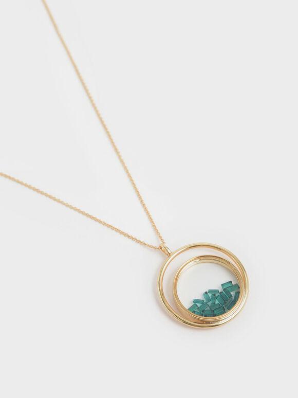 Swarovski® Crystal Emerald Stone Floating Locket Matinee Necklace, Copper, hi-res