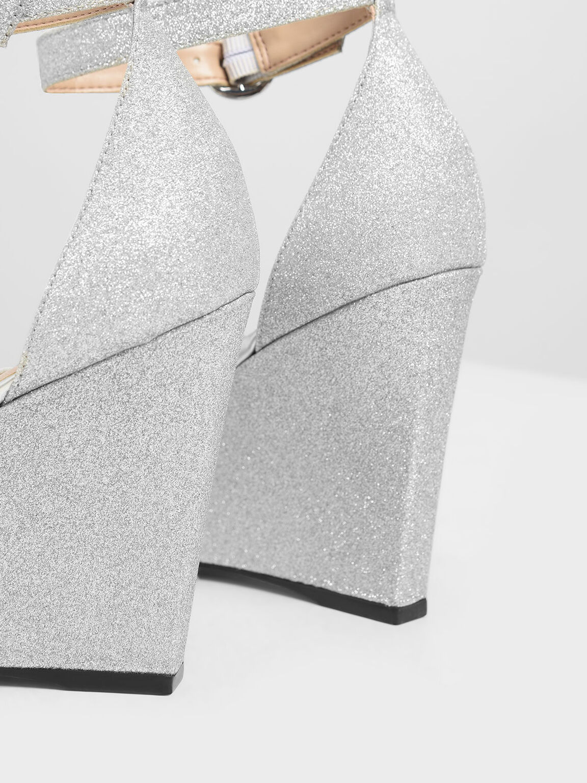 Glitter Peep Toe Wedges, Silver, hi-res