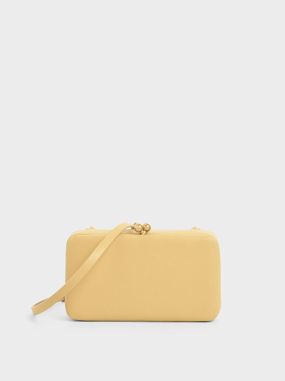 Boxy Twist Lock Crossbody Bag, Yellow, hi-res