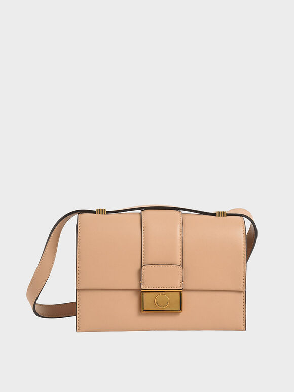 Metallic Push-Lock Crossbody Bag, Beige, hi-res