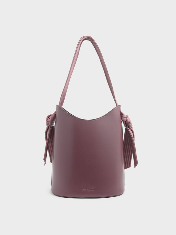 Knot Handle Bucket Bag, Pink, hi-res