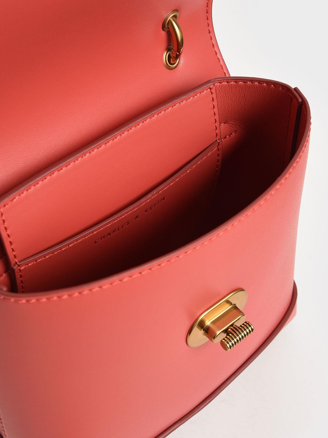 復古轉釦手提包, 珊瑚色, hi-res