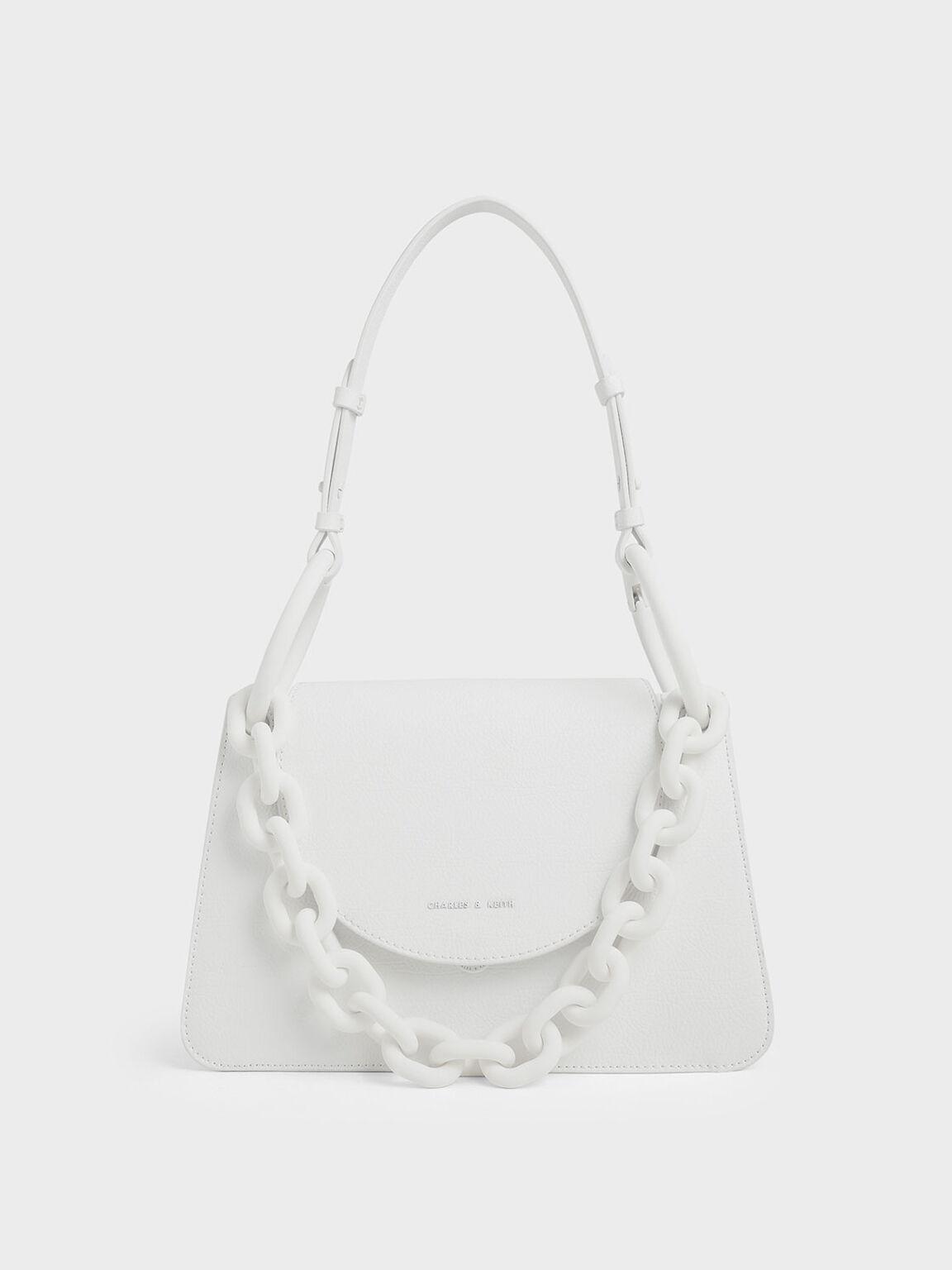 Chunky Chain Link Shoulder Bag, White, hi-res
