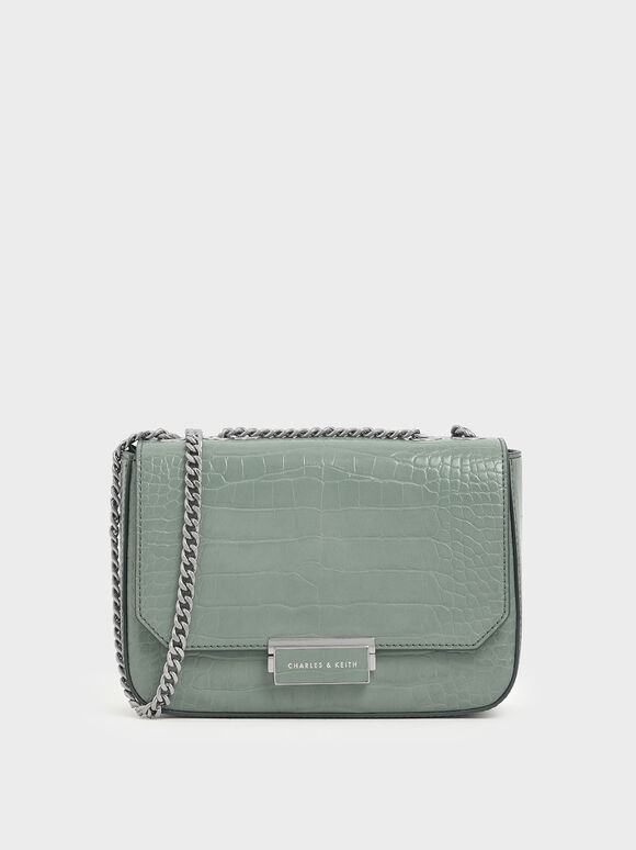Croc-Effect Structured Crossbody Bag, Sage Green, hi-res