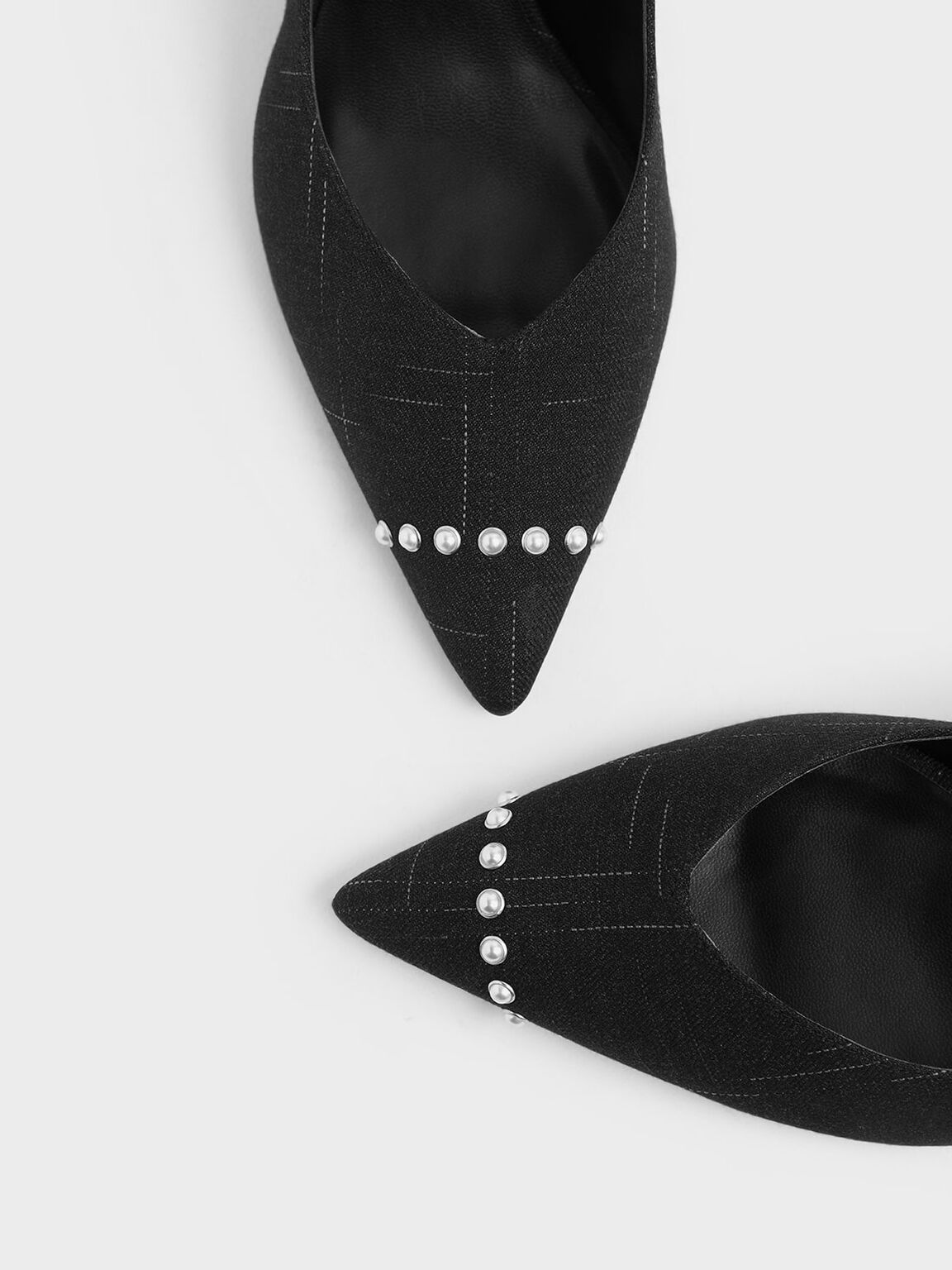 Embellished Trim Pointed Toe Fabric Pumps, Black Textured, hi-res