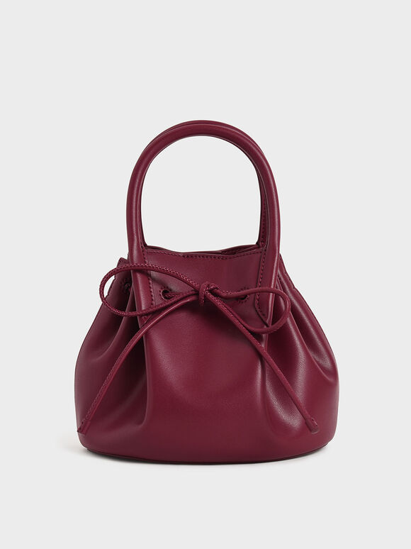 Drawstring Top Handle Bag, Red, hi-res