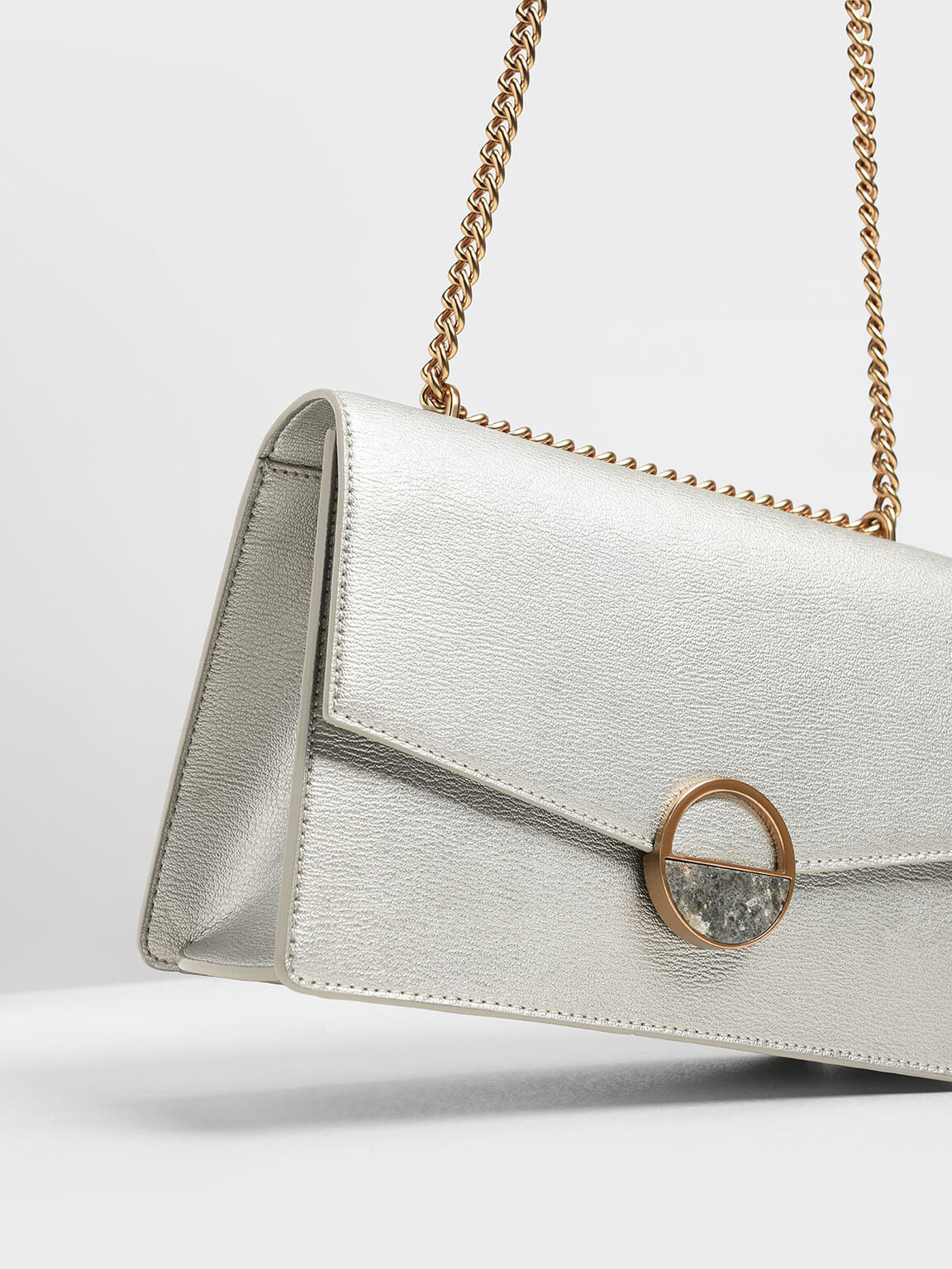 Round Plaque Detail Shoulder Bag, Silver, hi-res