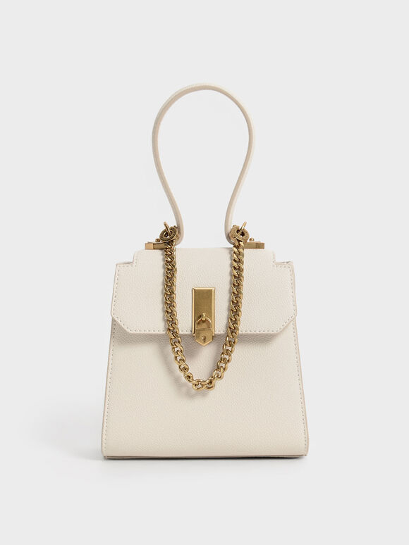 Top Handle Chain Link Trapeze Bag, Cream, hi-res