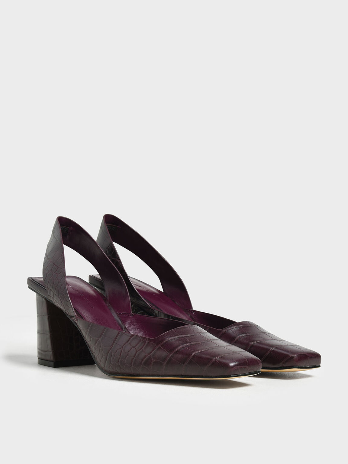 Croc-Effect Square Toe Block Heels, Prune, hi-res