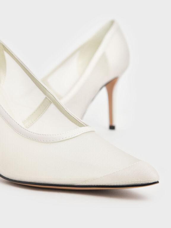 Mesh Stiletto Pumps, Cream