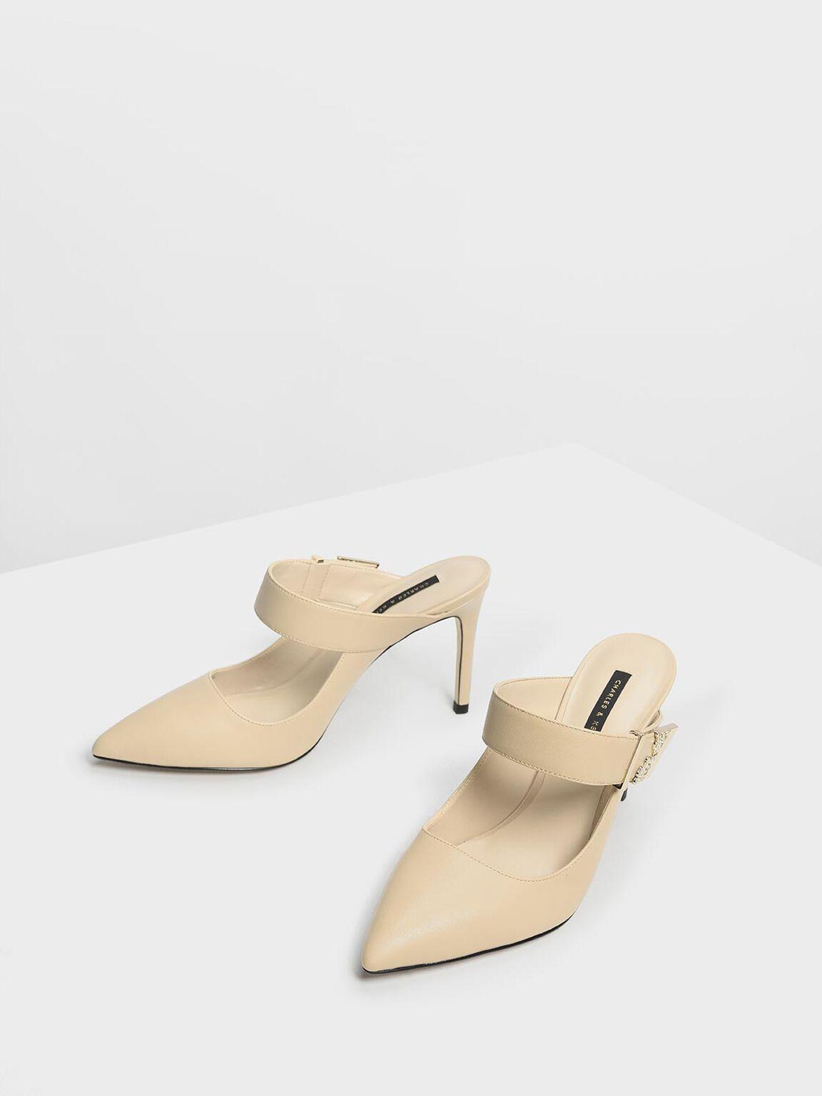 Shiny Ornamental Tab Buckle Heels, Sand, hi-res