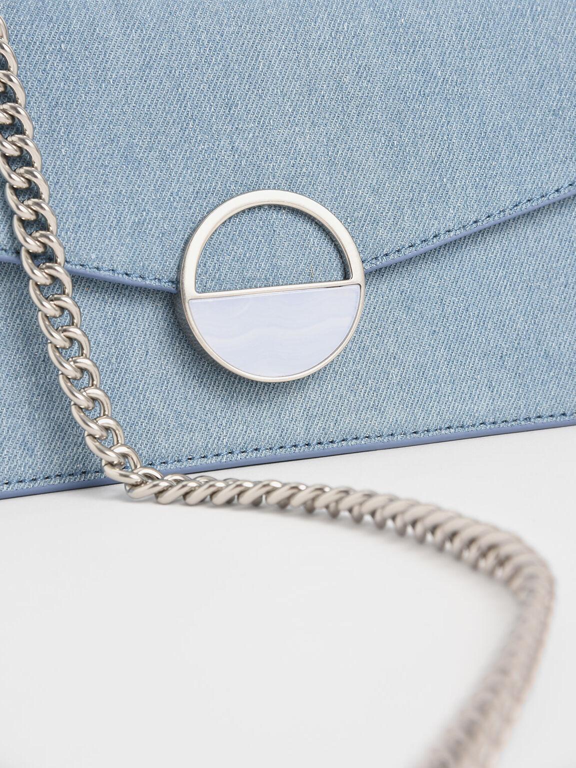 Stone Embellished-Buckle Shoulder Bag, Denim Blue, hi-res