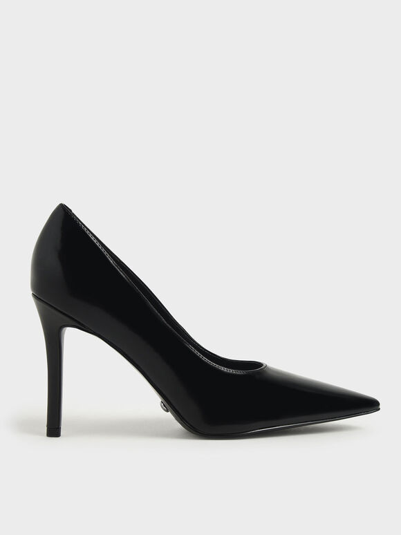 Leather Stiletto Heel Pumps, Black, hi-res
