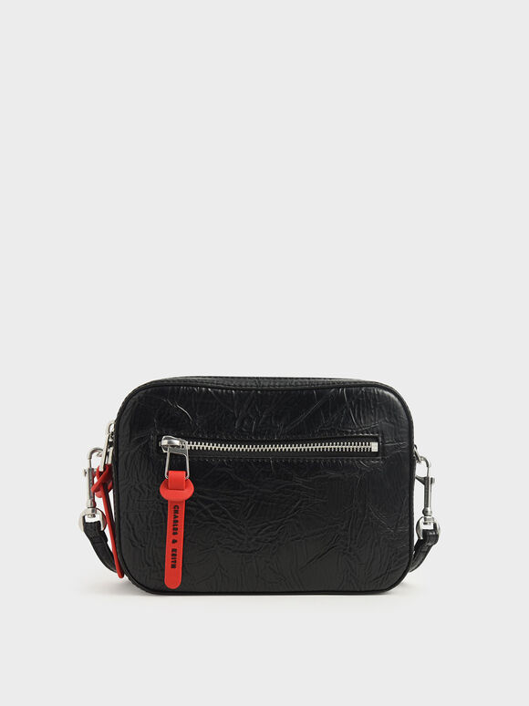 Wrinkled Effect Rectangle Crossbody Bag, Black, hi-res