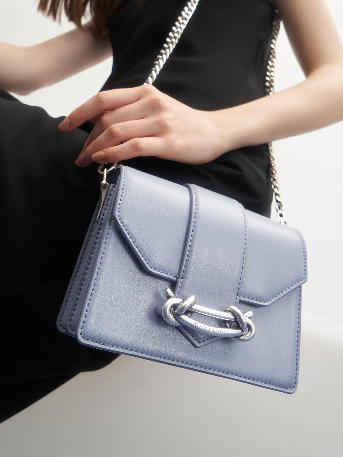 Metallic Buckle Crossbody Bag, Light Blue, hi-res