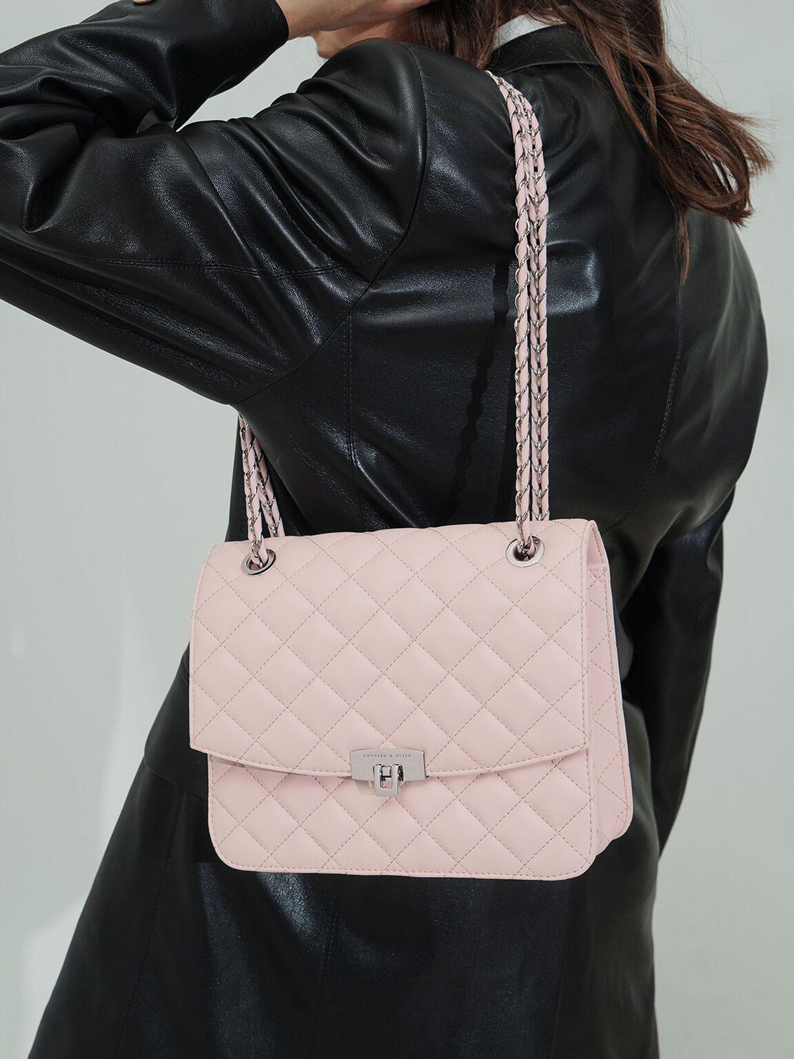 菱格紋鍊條包, 粉紅色, hi-res