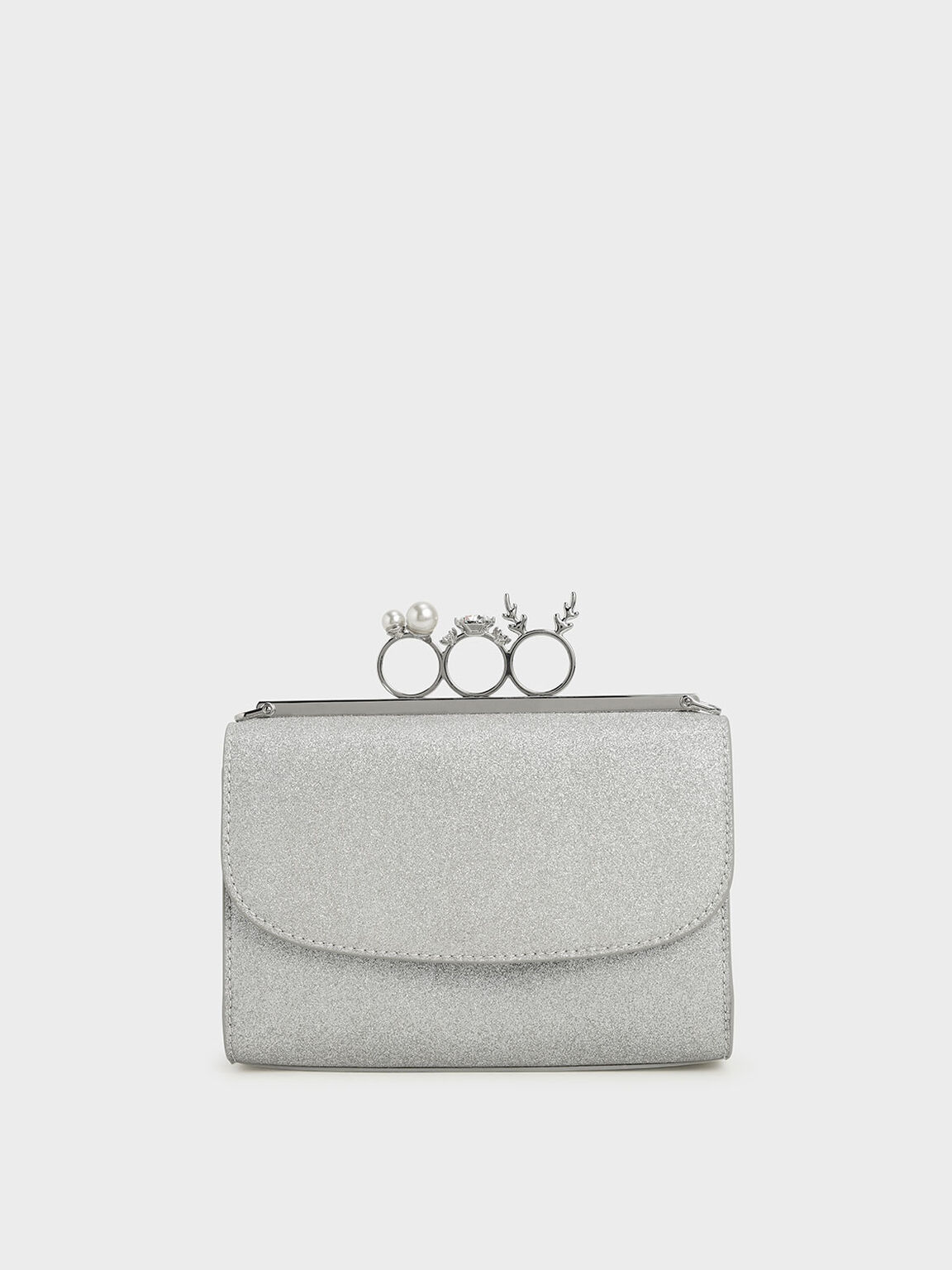 Glittered Knuckle-Ring Clutch, Silver, hi-res