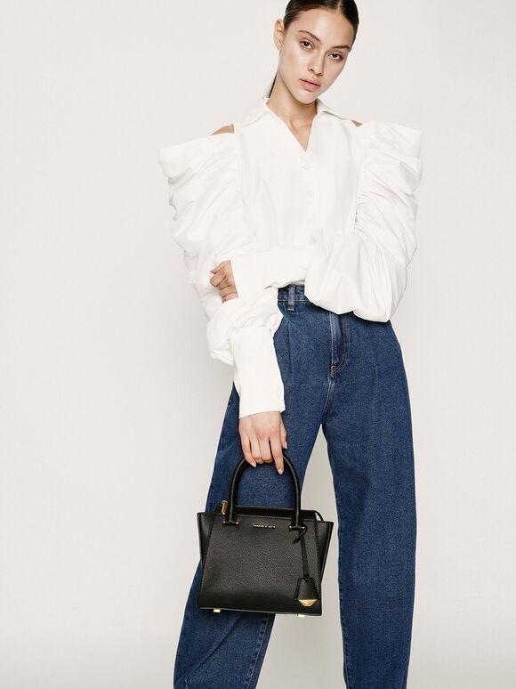 Structured Trapeze Bag, Black, hi-res