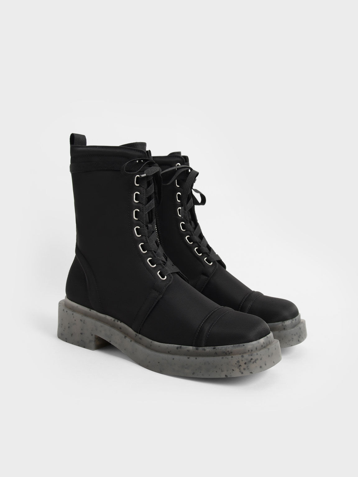 The Anniversary Series: Charli Recycled Nylon Lace-Up Ankle Boots, Black, hi-res
