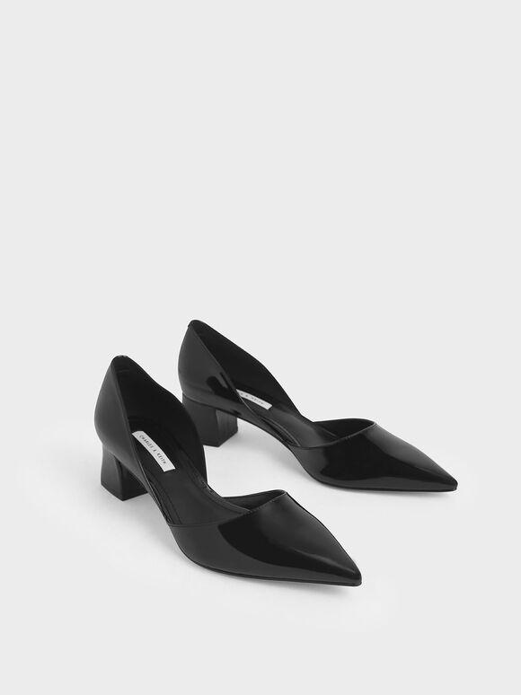 Patent D'Orsay Block Heel Pumps, Black, hi-res