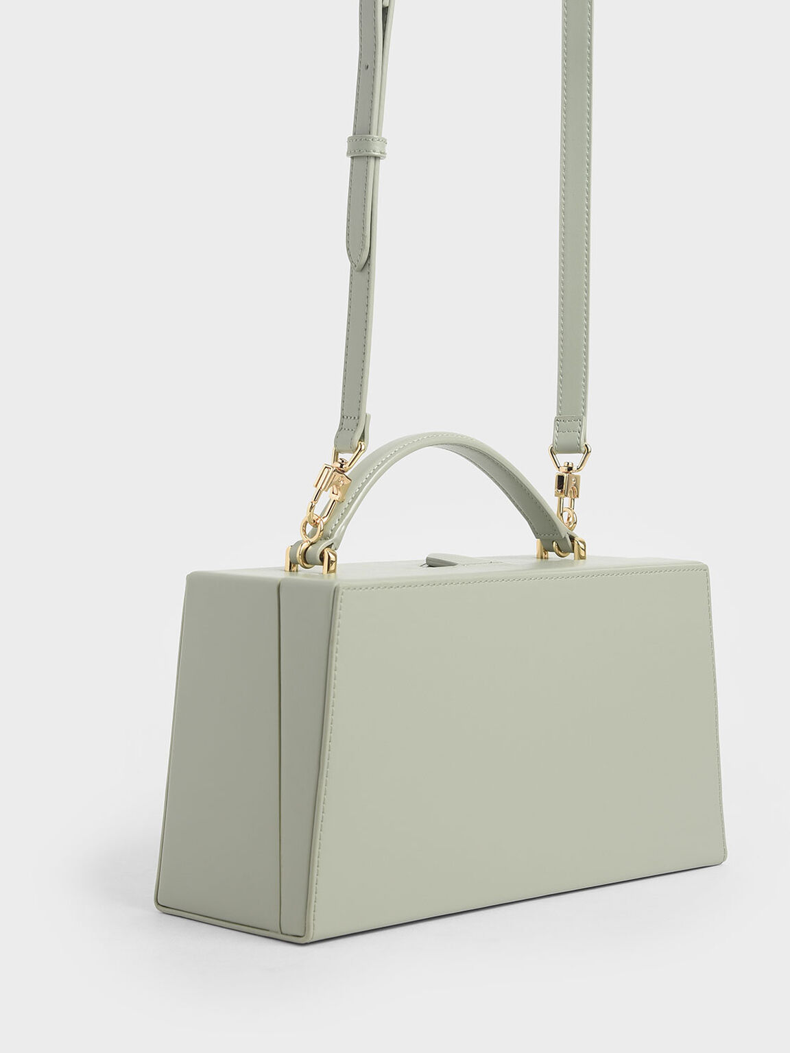 Rectangular Top Handle Bag, Green, hi-res