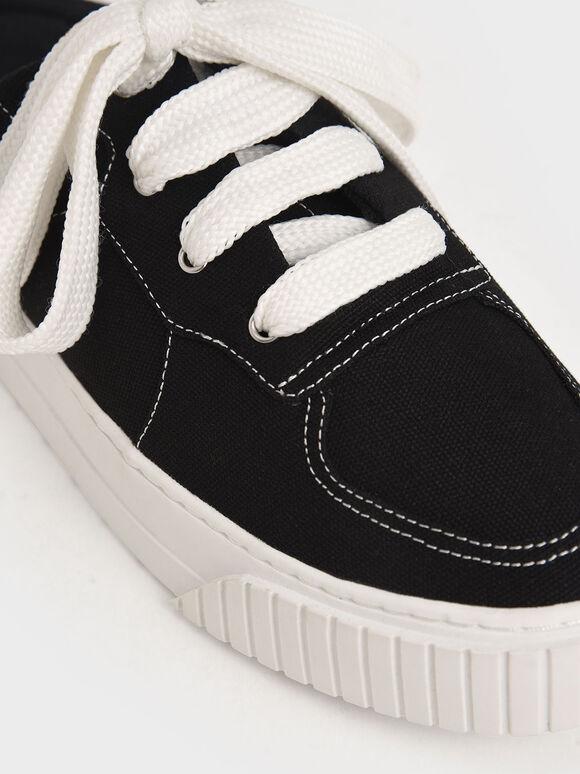 Microsuede Slip-On Trainers, Black, hi-res