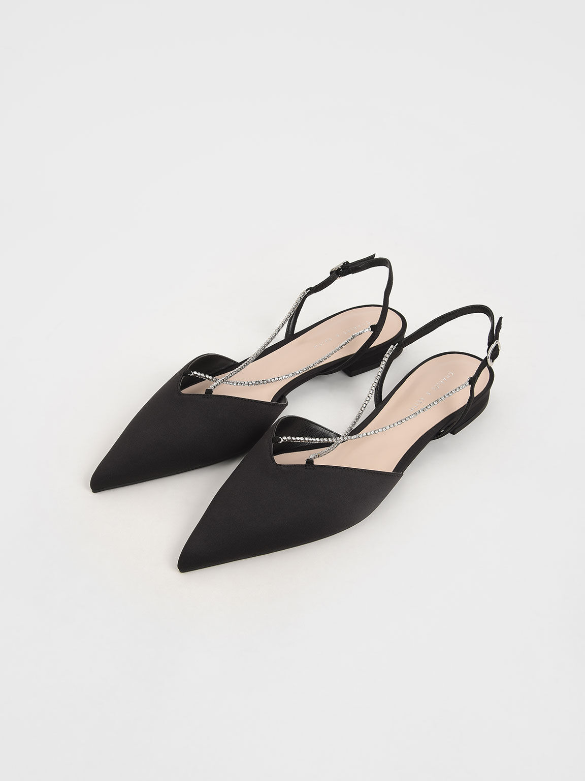 Satin Gem-Embellished Slingback Flats, Black, hi-res