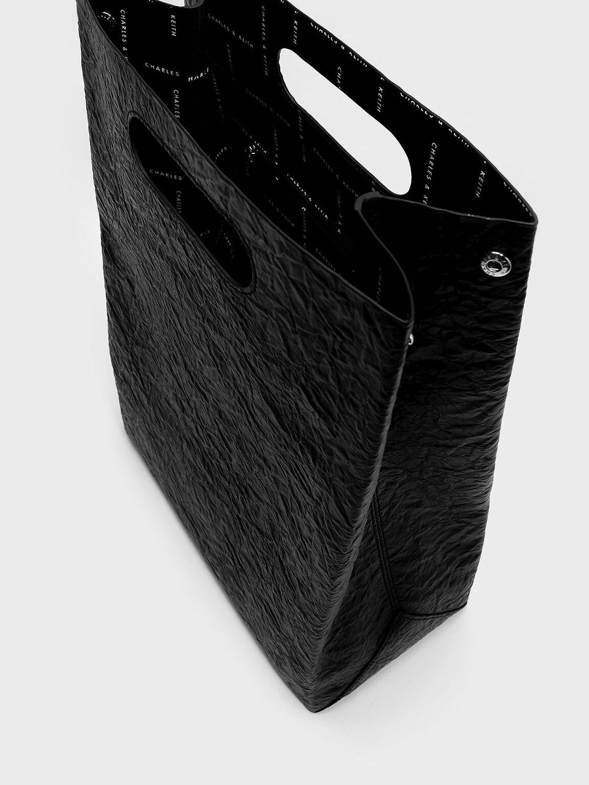 Cut Out Handle Structured Bag, Black, hi-res