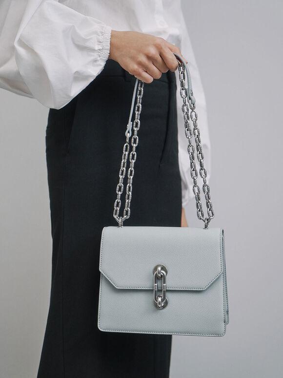 Double Chain Strap Turn-Lock Bag, Light Blue, hi-res