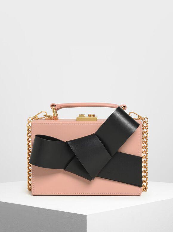 黑緞帶方包, 粉紅色, hi-res