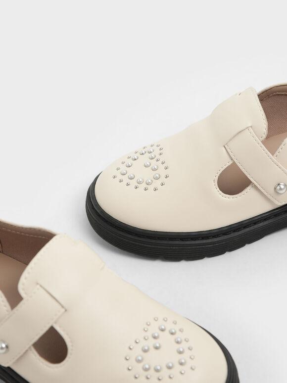 Girls' Embellished Loafers, Cream, hi-res