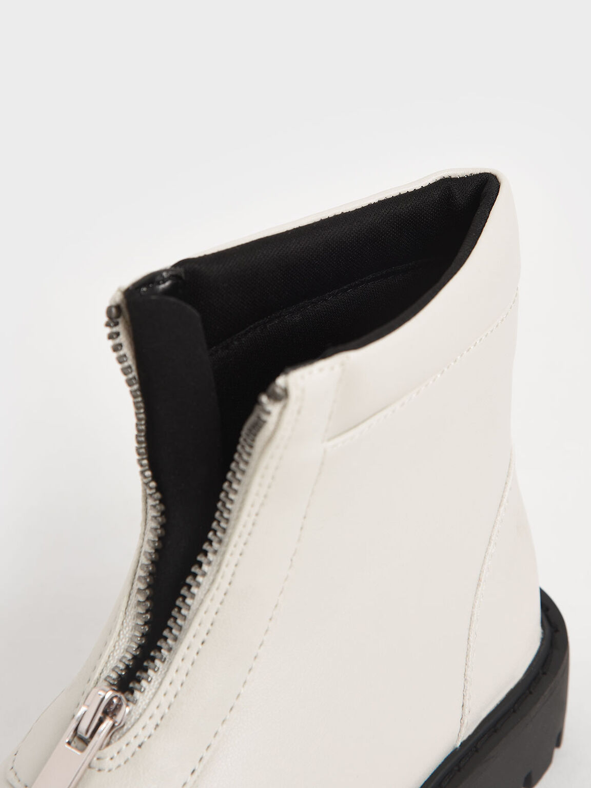Girl's Front Zip Ankle Boots, Chalk, hi-res