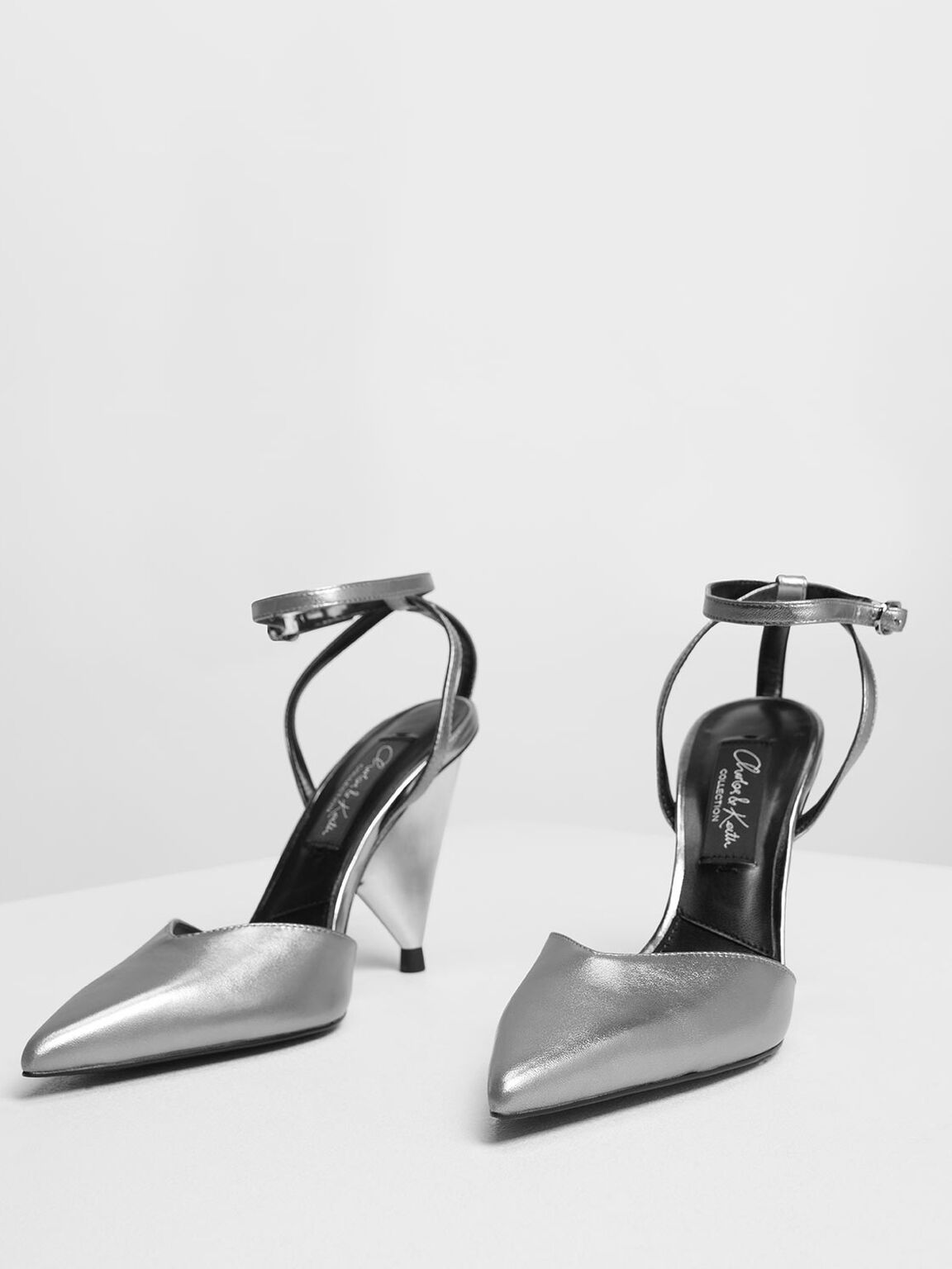 Leather V-Cut Ankle Strap Cone Heels, Silver, hi-res