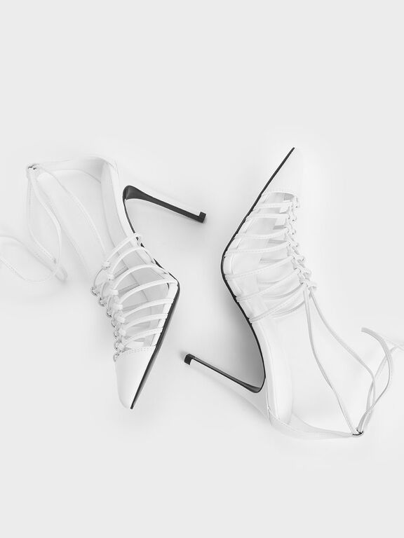 Lace Up Heels, White