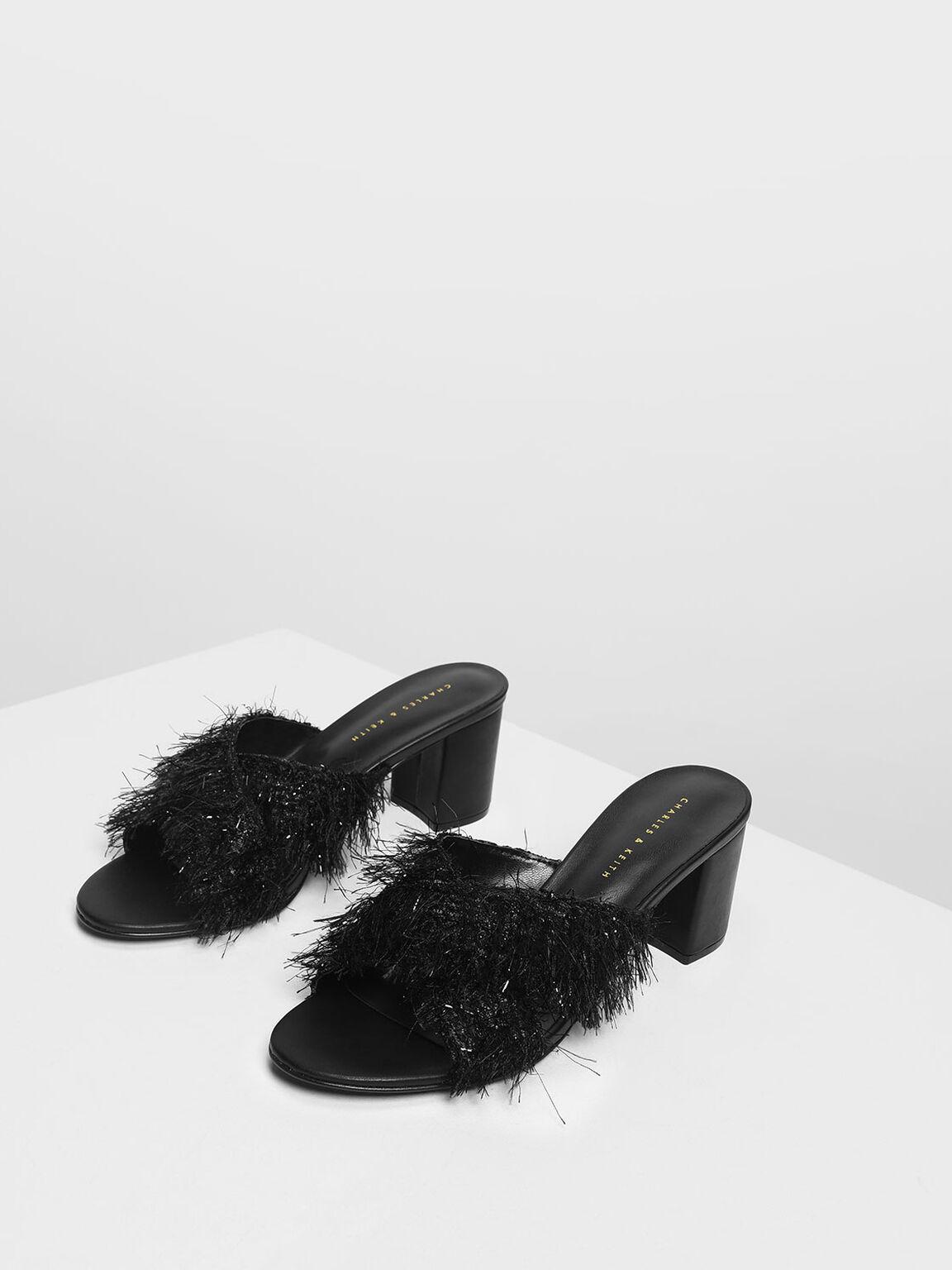 金蔥流蘇拖鞋, 黑色, hi-res