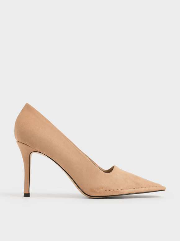 Stitch Trim Textured Stiletto Pumps, Nude, hi-res