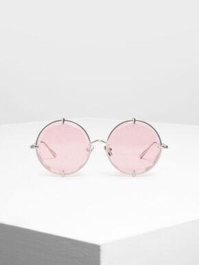 Round Wire Frame Skinny Sunglasses, Pink