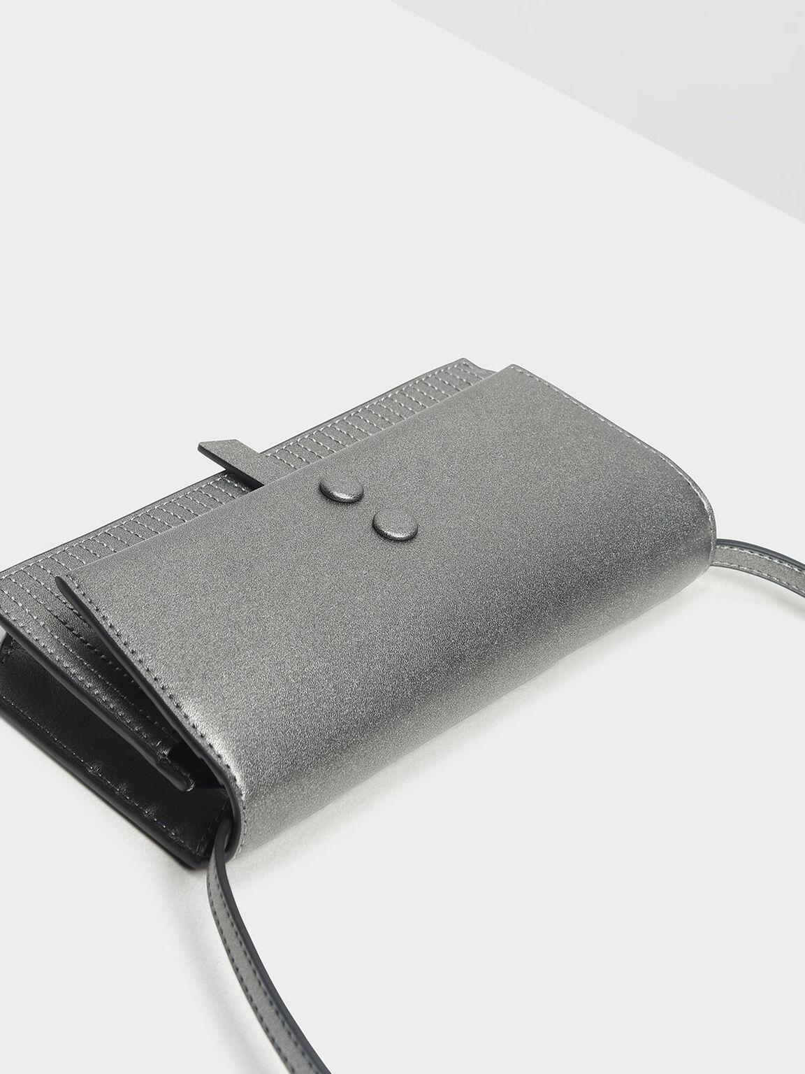 Topstitch Detail Wallet, Pewter, hi-res