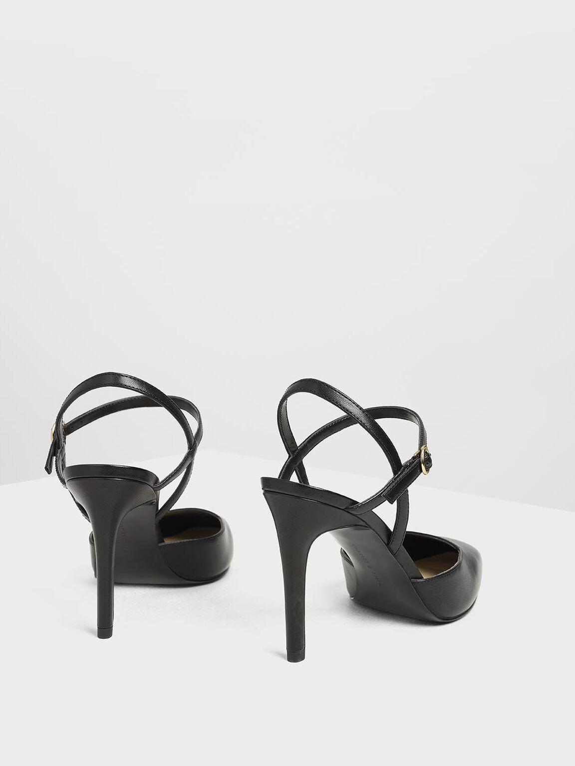 Ankle Strap Covered Heels, Black, hi-res